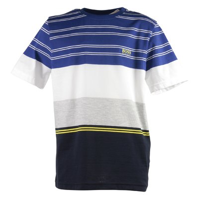 T-shirt color block in jersey di cotone con logo
